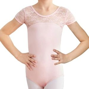 Other - Girls Pink Leotard Dance Size S Lace Top w/ Bow